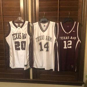 Throw back Texas A&M basketball jerseys(White/Mar)